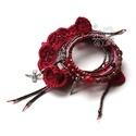 Piros fodros bohém karkötő ,  Bohém textil és gyöngy karkötőm azoknak ajá...