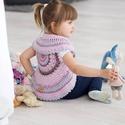 Mandala rózsaszín kislány mellény, Gyerek & játék, Különböző színű rózsaszínekből horgolt mandala virágot alakítottam mellénnyé apró hölgyeknek. Vidám,..., Meska