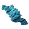 Türkiz hernyóselyem stóla, női selyem kendő, Kék márványos színátmeneteivel kézzel festet...