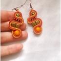"""""""Twist"""" sujtás fülbevalók, több színben, Ékszer, óra, Fülbevaló, Egyedi, sujtás technikával (kézi varrás) készült kézműves ékszerek!  Narancs-arany illetve ..., Meska"""