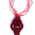 Fekete-piros sujtás nyaklánc, Ékszer, óra, Medál, Nyaklánc, Saját tervezésű, gyönyörűen csillogó, látványos, kézművesnyaklánc! Ha egyedi ékszert sz..., Meska