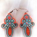 INKA narancs-kék sujtás fülbevaló, Ékszer, óra, Fülbevaló, Ékszerkészítés, Gyöngyfűzés, Különleges, sujtás (kézi varrás) technikával készült, saját tervezésű fülbevaló, narancssárga, kék ..., Meska