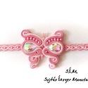 Lányka rózsaszín sujtás pillangó karkötő, Ékszer, Karkötő, Megrendelésre készítettem ezt a rózsaszín pillangó karkötőt egy kislány részére, hossza 1..., Meska