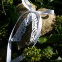 Rusztikus gyűrűpárna, Esküvő, Gyűrűpárna, Varrás,  Romantikus zsákvászonból és csipkéből készült gyűrűpárna.  Szív alakú.  Mérete 17 cm magas, 16 cm ..., Meska