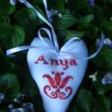 Anyának/Anyunak., Otthon, lakberendezés, Dekoráció, Magyar motívumokkal, Anyák napja, Gyergyói keresztszemes tulipánnal/hímzéssel díszített dekorációs szív, mely kedves ajándék lehet maj..., Meska