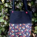 I LOVE COLOURS. Cseresznyés shopper. No.2., Táska, Szatyor, Tarisznya, Válltáska, oldaltáska, Vagány cseresznye/meggy-mintás anyag + fekete vászon kombinációja ez a bevásárló/szaladgálós-szatyor..., Meska