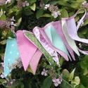 ROSE GARDEN. Zászlófüzér., Dekoráció, Baba-mama-gyerek, Otthon, lakberendezés, 240 centiméter hosszú,   12 db zászlóból álló bunting  zöld-menta-pink színvilágban.   A zászlók mag..., Meska