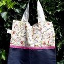 Happy Summer. Mini shopper., Táska, Szatyor, Tarisznya, Válltáska, oldaltáska, Kedves, dekoratív kis szatyor/tarisznya vászon és farmer (NEM újrahasznosított) kombinációjából mage..., Meska
