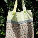 YELLOW SUMMER. Zöld virág-gombos shopper., Kedves, dekoratív szatyor/tarisznya  újrahasznos...
