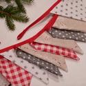 XMAS BUNTING. Zászlófüzér., Dekoráció, Otthon, lakberendezés, Ünnepi dekoráció, Karácsonyi, adventi apróságok, 200 centiméter hosszú,   10 db zászlóból álló bunting  KARÁCSONYVÁRÓ színvilágban.   A zászlók magas..., Meska