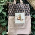 THE OWL. Őszi baglyos shopper mogyorós vászonnal., Kedves bevásárló/szaladgálós szatyor  megerő...