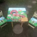 Asztal és szék  Farm, Bútor, Baba-mama-gyerek, Asztal, Gyerekszoba, Famegmunkálás, Festészet,  Asztal és szék     Az aukció tárgya 1 db asztal és hozzá 2db szék Fenyő alapanyagból készült egyed..., Meska