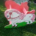 Fa hintaló Névreszóló rózsaszín, Baba-mama-gyerek, Gyerekszoba, Hermaresz dekor  Egyedi kézi készítésű  hintaló.  Mérete:  Magasság:60cm Hosszúság:85cm Sz..., Meska