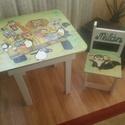 Asztal és szék, Bútor, Baba-mama-gyerek, Asztal, Gyerekszoba, Famegmunkálás, Festészet,  Asztal és szék  Az aukció tárgya 1 db asztal és hozzá 1db szék Fenyő alapanyagból készült egyedi k..., Meska