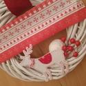 Skandináv stílusú koszorú,  kopogtató , Dekoráció, Dísz, Ajtódísz, kopogtató, Skandináv koszorú   Egy nagy,  30 cm fehér vessző koszorú a klasszikus skandináv stílusban, piros-fe..., Meska