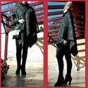 Füstszürke- arany fekete kockás aszimmetrikus poncsó , Ruha, divat, cipő, Női ruha, Kabát, Poncsó, Varrás, AKCIÓS termék!    Hétköznapi elegancia jegyében készült poncsó:o)  Füst-szürke szövet, vékony arany..., Meska
