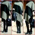 Aszimmetrikus bézs, fekete, hosszú poncsó  AKCIÓ!, Ruha, divat, cipő, Női ruha, Kabát, Poncsó, Varrás, 5990 Ft helyett 4990 Ft  Aszimmetrikus szabással, bézs, szürke csíkos szövetből, és fekete pamutszö..., Meska
