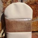 Kagyló hátizsák - kézifüllel, halvány-krém, ezüstös bézs., Ruha, divat, cipő, Táska, Hátizsák, Laptoptáska, Varrás, Csillogj a hétköznapokon is!  Bézs- ezüstös velúr, és halvány krém textilbőrből készült hátitáska. ..., Meska