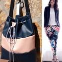 Kék-púder háti/válltáska/valódi bőrrel, pasztell elegancia, Tökéletes városi viselet, elegáns bucket bag. ...