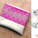 Púderes-pink, bézs, vajszín tolltartó/neszeszer - puderes valódi bőr rojttal, Ruha, divat, cipő, Táska, Neszesszer, Pénztárca, tok, tárca, AKCIÓS termék! Púderes-pink, bézs mintás 100% pamutvászon designer textillel és vajszín text..., Meska