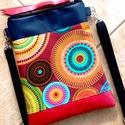 Desigual stílusú táska - valódi bőrrel - egyedi oldal/válltáska, Ruha, divat, cipő, Táska, Baba-mama-gyerek, Válltáska, oldaltáska, Kék és gyöngyház fényű piros marhabőrrel, illetve desigual stílusú designer textillel kombi..., Meska