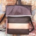 Bronzos barna, lehajtható fedeles hátitáska - textilbőr pántokkal, Elegáns, bronzos barna, arany lehajtható fedeles...