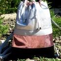 Hologramos rosé, kék, ezüst- feketével- hátizsák - textilbőr pántokkal, A gymbag eleje kék-ezüst, hologramos rose, és f...