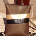Barna-bronz- arany- fekete hátitáska- textilbőr pántokkal, Ruha, divat, cipő, Táska, Baba-mama-gyerek, Hátizsák, Bronzos barna különleges felületű textilbőrrel, illetve arany, és fekete textilbőrökkel kés..., Meska