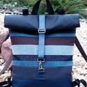 Kék-mintás- fekete hátitáska- valódi bőrrel , Kék marhabőrrel, illetve kék-barna mintás olas...