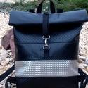 Fekete - ezüst hátitáska , Fekete különleges felületű, és ezüst mintás...