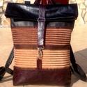Barna -mintás-bordó- fekete hátitáska- valódi bőrrel , Sötét-bordó és fekete gyűrt hatású marhabő...