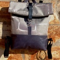 Ezüstös-szürke- kékkel hátitáska- valódi bőrrel , Kék marhabőrökkel, illetve szürkés-ezüstös ...