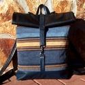 Kék-barna mintás- fekete hátitáska- valódi bőrrel , Ruha, divat, cipő, Táska, Hátizsák, Laptoptáska, Kék marhabőrrel, illetve kék-barna mintás olasz vastag bútorvászonnal készült  a táska eleje, háta f..., Meska