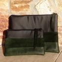 Zöld- fekete laptop- tablet-tartó szett valódi bőrrel, Ruha, divat, cipő, Táska, Pénztárca, tok, tárca, Neszesszer, Zöld - sötét zöld marhabőrrel és fekete minőségi textílbőrrel kombinált egyedi tablet-tartó és lapto..., Meska