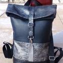 Ezüst- szürke - mintás - fekete hátitáska- valódi bőrrel , Ruha, divat, cipő, Táska, Hátizsák, Laptoptáska, Ezüst- füstszürke- fekete mintás marhabőrrel, fekete mintás, ezüst, illetve egyszínű fekete textilbő..., Meska