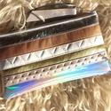 Hologramos-ezüstös-arany tolltartó/neszi - valódi bőr rojttal AKCIÓS, Táska, Ruha, divat, cipő, Neszesszer, Pénztárca, tok, tárca, Ezüstös, holgramos, arany, bronz, fehér és gyöngyház textilbőrökkel kombinált tolltartó vagy neszesz..., Meska