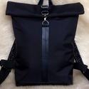 Fekete vízálló hátitáska- fekete valódi bőrrel - laptoptáska - nagyobb méret, Fekete marhabőrrel, illetve fekete erős vízáll...