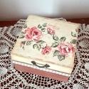 Rózsás doboz, Otthon, lakberendezés, Dekoráció, Tárolóeszköz, Doboz, Decoupage, transzfer és szalvétatechnika, Festett tárgyak, Rózsával és csipkével díszítettem ezt a kellemes, romantikus hangulatú dobozt. Dekupázs technikával..., Meska