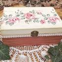 Rózsás doboz, Konyhafelszerelés, Otthon, lakberendezés, Esküvő, Tárolóeszköz, Kellemes, romantikus hangulatú, rózsával és csipkével díszített ékszeres doboz vagy teásdoboz. Belül..., Meska