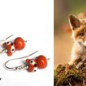 RÓKABÉBIK, lámpagyöngy rókás fülbevaló ezüsttel, Két kedves kis róka bébi a füledbe!  Négy saj...