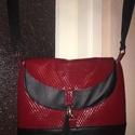 Hippo Hobo táska, Táska, Válltáska, oldaltáska, Hippo Hobo Válltáska. Piros steppelt/fekete műbőr, 35x30 cm, talp 8 cm, állítható vállpánt,..., Meska
