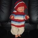 Baby Born babához ruha 16 csíkos, Játék, Baba, babaház, Varrás, Kötés, Ruha Baby Born vagy más 43 cm-es babára. 3 db-os garnitúra: kötött kabát, sapka, nadrág. A baba csa..., Meska