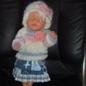 Baby Born babához ruha 05, Játék, Baba, babaház, Varrás, Kötés, Ruha Baby Born vagy más 43 cm-es babára. 3 db-os garnitúra: kötött kabát, sapka, szoknya. A baba cs..., Meska