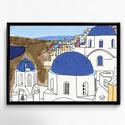 Lakásdekoráció kép, kerettel: Szeretünk utazni! - Santorini, Dekoráció, Otthon, lakberendezés, Falikép, Mindenmás, Fotó, grafika, rajz, illusztráció, Kézzel rajzolt Szeretünk utazni! sorozatom első képe, Santorini.  Professzionális, magas minőségű p..., Meska