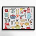 Lakásdekoráció kép, kerettel: konyhai eszközök, Dekoráció, Otthon, lakberendezés, Kép, Falikép, Mindenmás, Fotó, grafika, rajz, illusztráció, Kézzel rajzolt konyhai eszközök. Professzionális, magas minőségű papírra nyomtatva, választható szí..., Meska