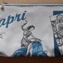 olaszos hangulatu kistáska/neszeszer/, Táska, Neszesszer, Ezt a táskát bútorszövet és textilbőr kombinálásával készítettem. A táskát fekete alapo..., Meska