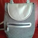 szürke-ezüst hátizsák, Táska, Válltáska, oldaltáska, Ezt a táskát kellemes tapintású bútorszövet és textilbőr kombinálásával készítettem, pa..., Meska