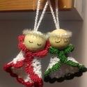 Horgolt angyalkák, Dekoráció, Ünnepi dekoráció, Karácsonyi, adventi apróságok, Karácsonyi dekoráció, Kézzel készített termék. Horgolt angyalka. Magassága kb. 7 cm, Meska