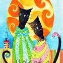 Cica elegancia, Képzőművészet, Festmény, Akvarell, Illusztráció, Kispéldányszámú reprodukció (20), aláírt számozott nyomat az eredeti akvarell festményről. Mérete 15..., Meska