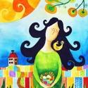 Bizalom - művészi nyomat, Képzőművészet, Festmény, Akvarell, Illusztráció, Kispéldányszámú reprodukció (20), aláírt számozott nyomat az eredeti akvarell festményről. Mérete 15..., Meska